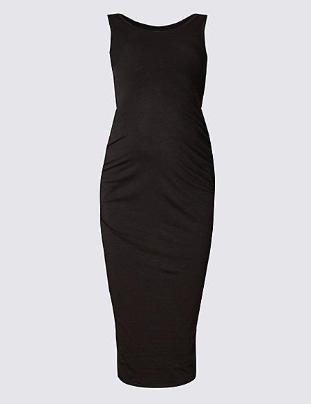 Maternity Modal Blend Sleeveless Ruched Dress