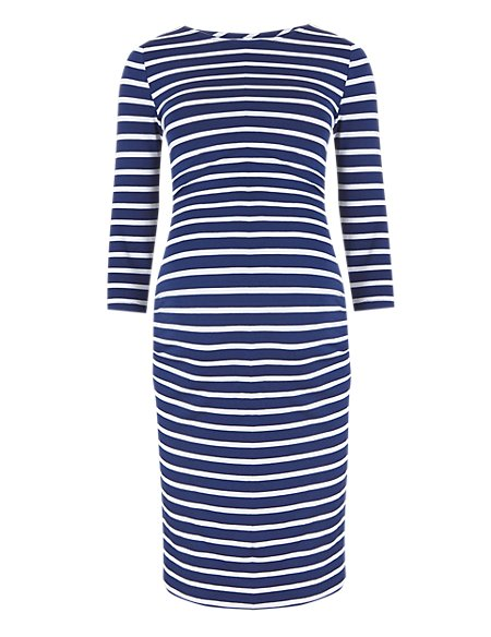 Maternity Striped Shift Dress With Modal