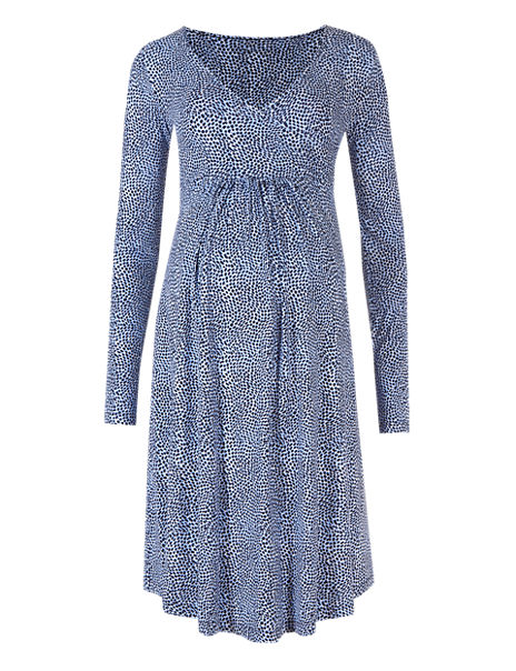 Maternity Spotted Wrap Dress