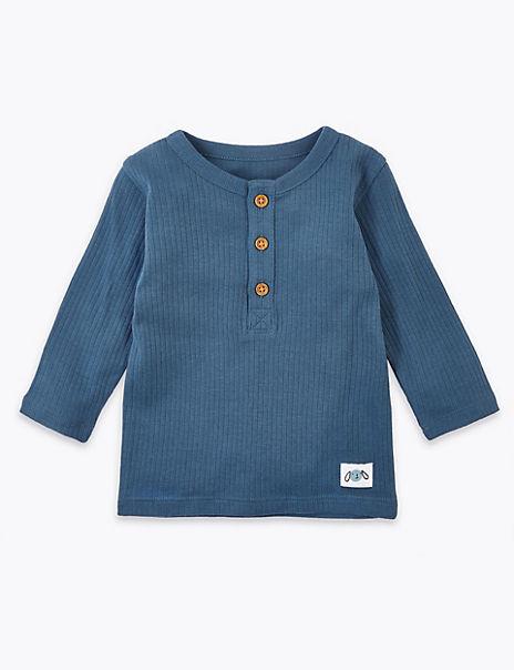 Cotton Grandad Collar Top