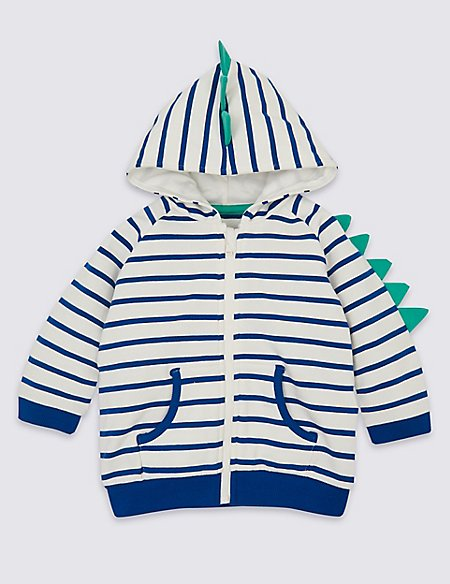 Organic Cotton Dinosaur Hooded Top with Stretch