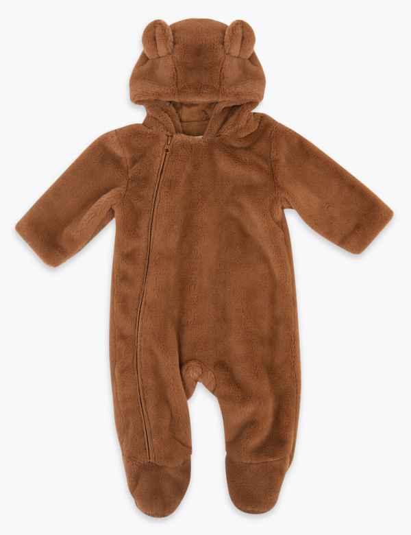 clp60449142: Faux Fur Bear Pramsuit (7lbs-12 Mths)
