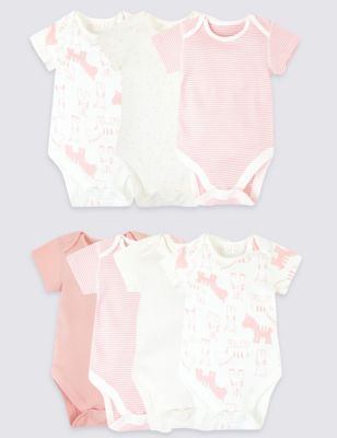 7 Pack Pure Cotton Animal Bodysuits by Marks & Spencer