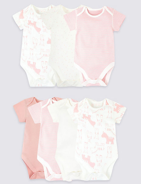 7 Pack Organic Cotton Animal Bodysuits