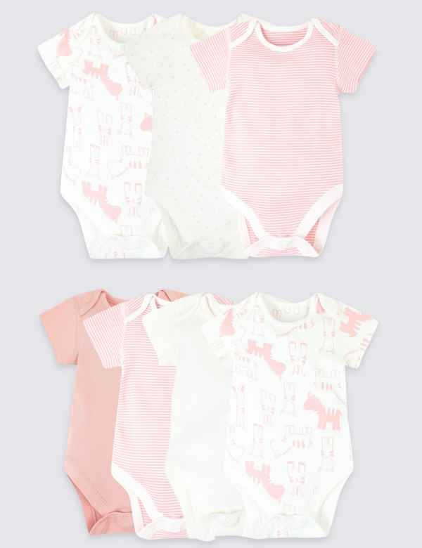 65a3d742f8f1 7 Pack Organic Cotton Animal Bodysuits