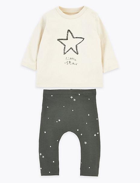 2 Piece Cotton Rich Little Star Slogan Outfit