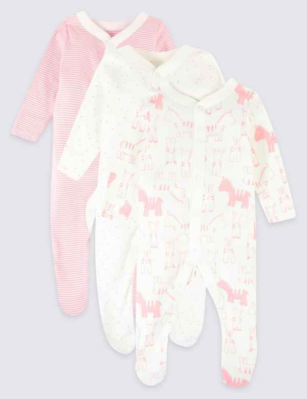 1a145ae4e034 3 Pack Organic Cotton Animal Print Sleepsuits