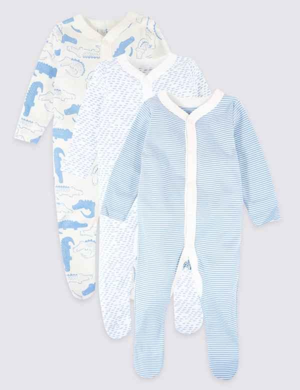 8f1133b7f 3 Pack Organic Cotton Animal Print Sleepsuits