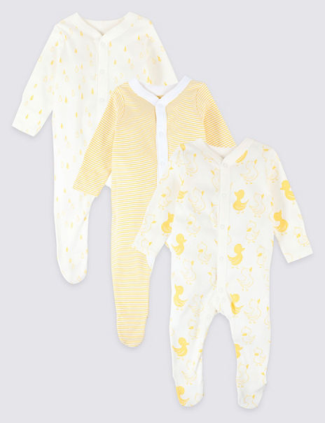 3 Pack Organic Pure Cotton Animal Print Sleepsuits