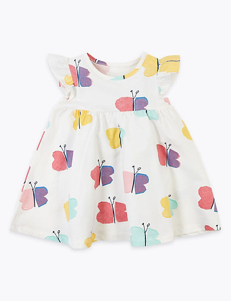 Cotton Rich Butterfly Print Dress