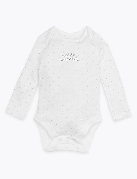 Organic Hello World Star Design Bodysuit