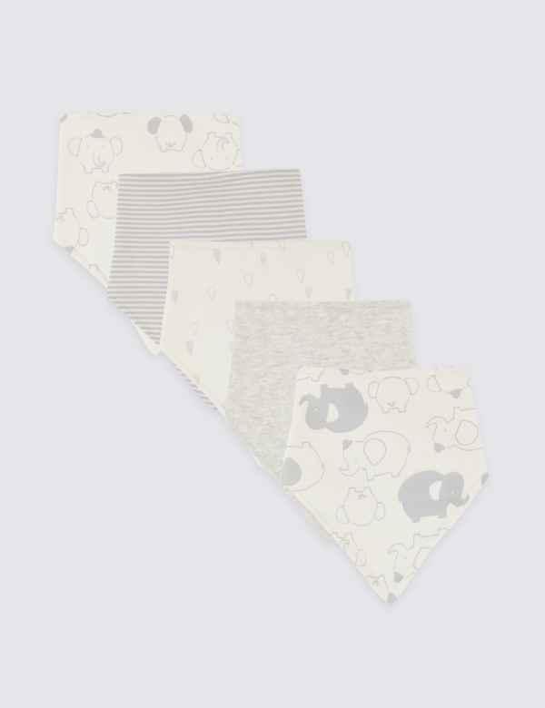 a01473878e049 5 Pack Organic Cotton Animal Dribble Bibs