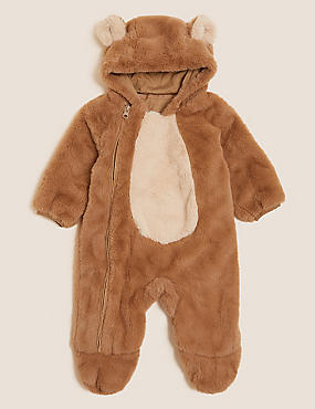 Fleece Bear Pramsuit (7lbs - 12 Mths)