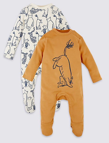 2 Pack Pure Cotton Winnie the Pooh & Friends™ Sleepsuits