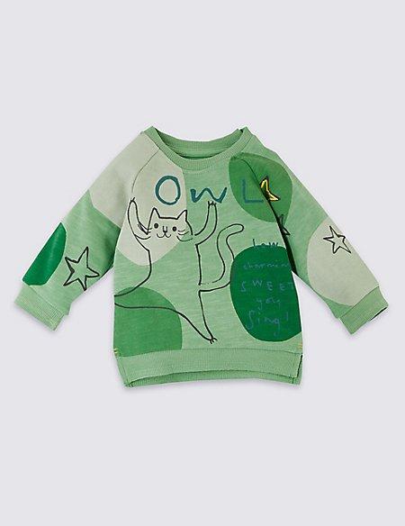 Pure Cotton Owl Star Sweatshirt