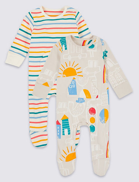 2 Pack Pure Cotton Sleepsuits
