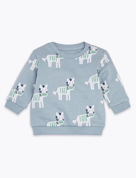 Cotton Rich Zebra Print Sweatshirt