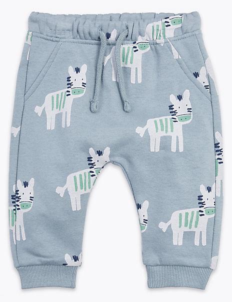 Cotton Rich Zebra Print Joggers