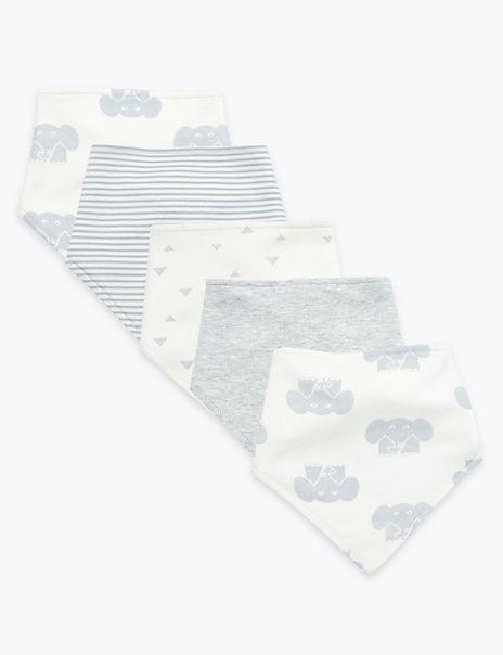 5 Pack Organic Cotton Dribble Bibs