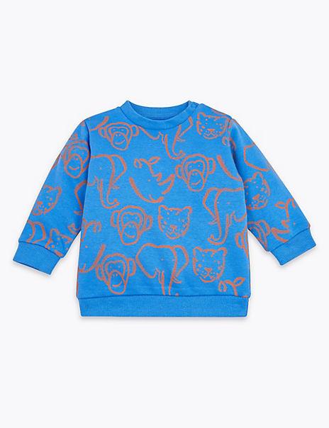 Cotton Rich Animal Print Sweatshirt
