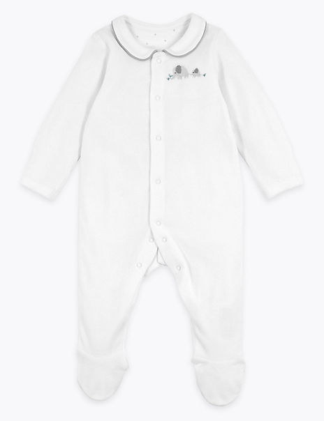 Organic Cotton Rich Velour Sleepsuit