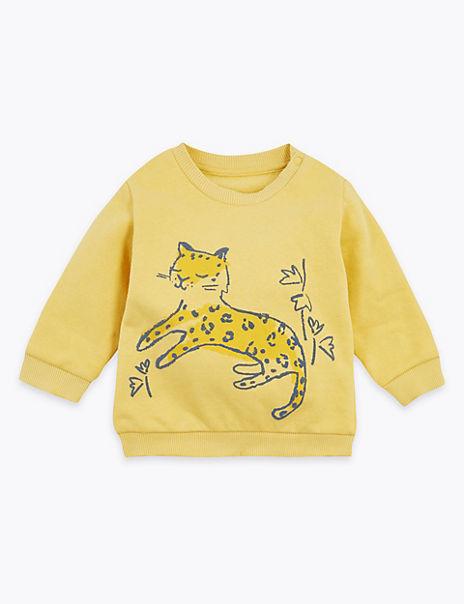 Cotton Rich Leopard Print Sweatshirt