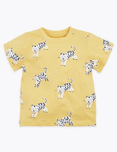 Cotton Wild Cat Print T-Shirt