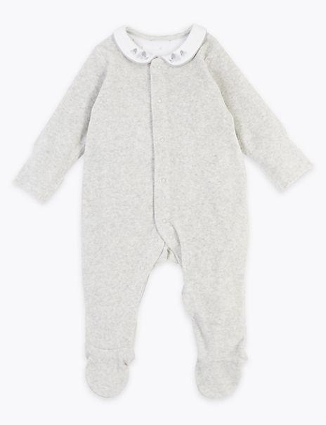 Organic Cotton Velour Collared Sleepsuit