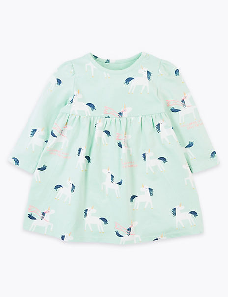 Cotton Rich Jersey Unicorn Design Dress