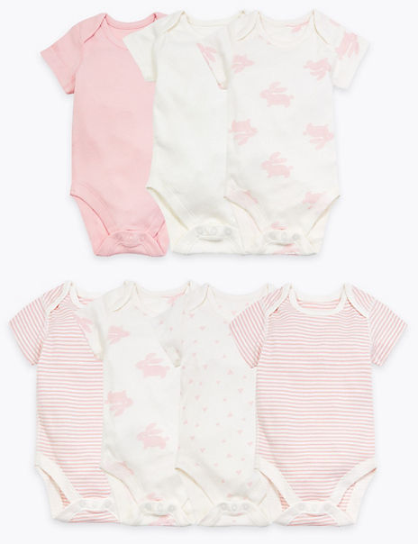 7 Pack Organic Cotton Patterned Bodysuits