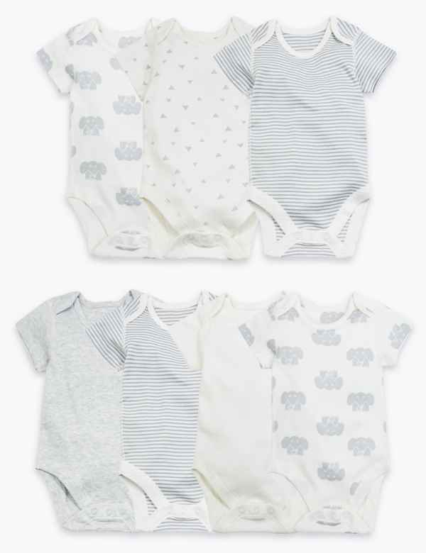 3-6 Months M/&S Girls Pack of 4 Long Sleeve Cotton Tops Cream//Grey//Black//White
