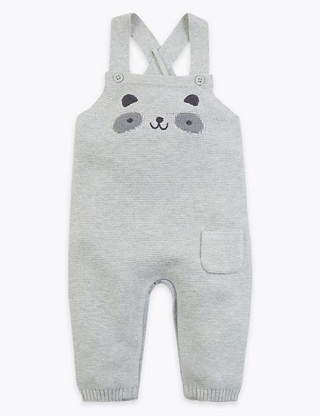Organic Cotton Panda Knitted Dungarees