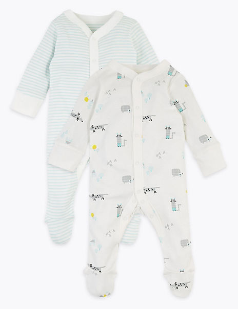 2 Pack Cotton Animal Sleepsuits (0-3 Years)