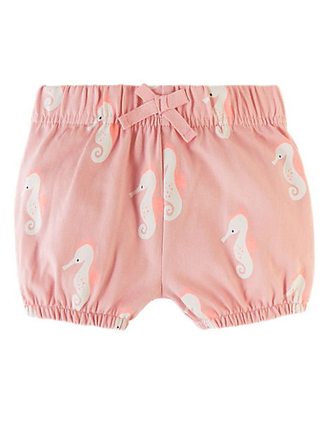 Pure Cotton Seahorse Print Bloomer Shorts (0-3 Yrs)