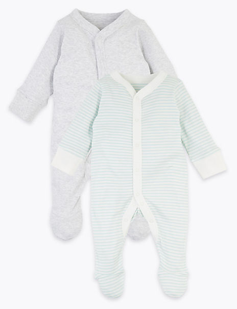 2 Pack Cotton Sleepsuits