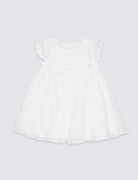 Floral Embellished Tulle Baby Dress