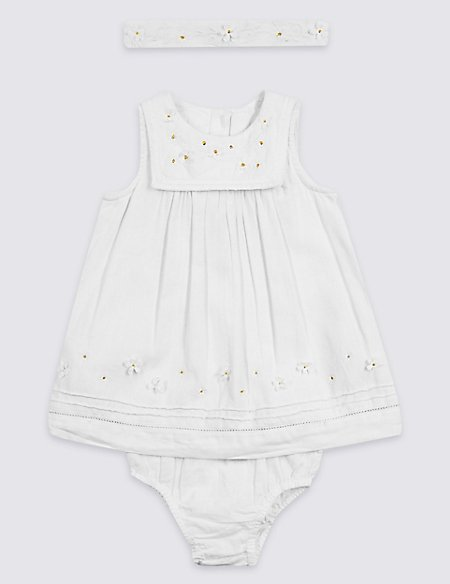 3 Piece Headband, Knicker & Embroidered Dress