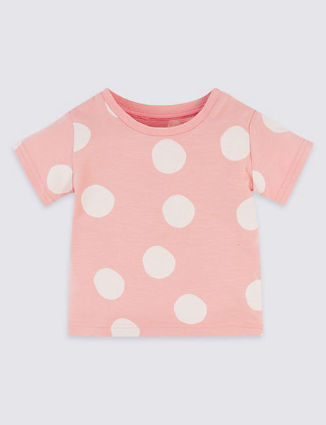 Pure Cotton Spotted T-Shirt