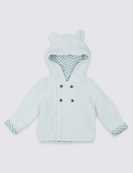 Pure Cotton Hooded Chunky knit Cardigan