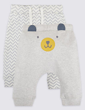 2 Pack Pure Cotton Applique Face Joggers