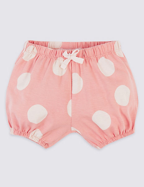 Pure Cotton Spotted Jersey Shorts