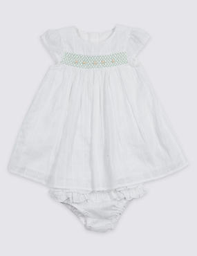 2 Piece Pure Cotton Frill Dress & Knicker