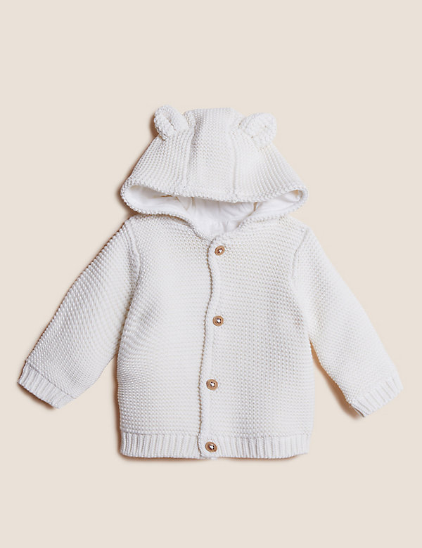 Pure Cotton Chunky Knitted Cardigan (0-3 Yrs)