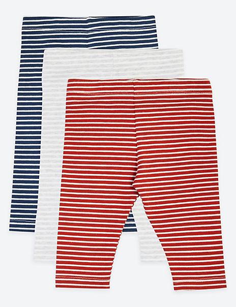 3 Pack Cotton Striped Print Leggings