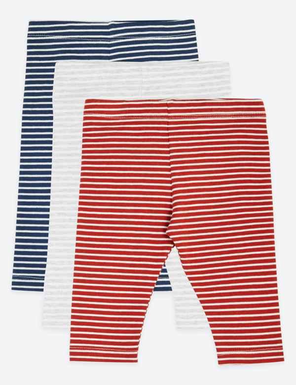 a60f1d2938039e 3 Pack Cotton Striped Print Leggings