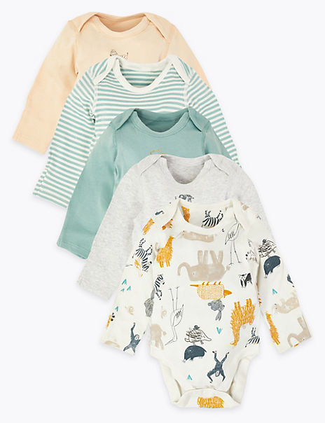 5 Pack Pure Cotton Animal Bodysuits