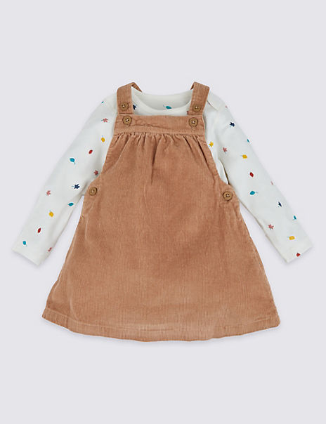 Two Piece Corduroy Pinafore Set