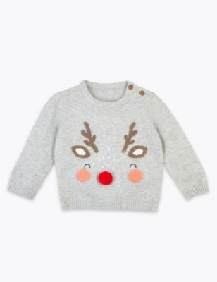 Embroidered Reindeer Christmas Jumper by Marks & Spencer