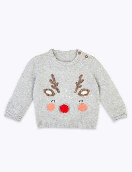 Embroidered Reindeer Christmas Jumper