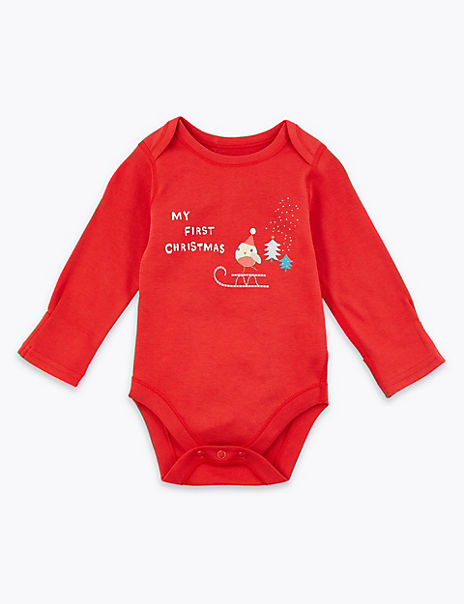 Cotton My First Christmas Slogan Bodysuit